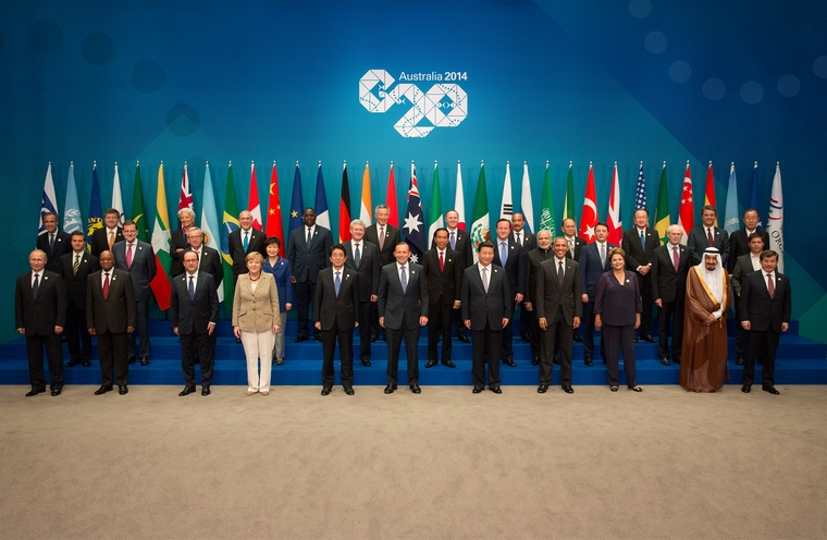 BRISBANE, AUSTRALIA - NOVEMBER 15:  In this handout photo provided by the G20 Australia,  (Front row L-R) Russia's President Vladimir Putin, South Africa's President Jacob Zuma, France's President Francois Hollande, Germany's Chancellor Angela Merkel, Japan's Prime Minister Shinzo Abe, Australia's Prime Minister Tony Abbott, China's President Xi Jinping, United States' President Barack Obama, Brazil's President Dilma Rousseff, Saudi Arabia's Crown Prince Salman bin Abdulaziz, Turkey's Prime Minister Ahmet Davutoglu, (middle row L-R) Mexico's President Enrique Pena Nieto, Spain's President of the Government Mariano Rajoy Brey, European Commission President Jean-Claude Juncker, Republic of Korea's President Park Geun-hye, Canada's Prime Minister Stephen Harper, Indonesia's President Joko Widodo, United Kingdom's Prime Minister David Cameron, India's Prime Minister Narendra Modi, Italy's Prime Minister Matteo Renzi, European Council President Herman Van Rompuy, Argentina's Minister of Economy Axel Kicillof, (back Row L-R) FSB Chairman Mark Carney, International Labour Organization Guy Ryder, IMF Managing Director Christine Lagarde, OECD Secretary-General Angel Gurria, Senegal's President Macky Sall, Singapore's Prime Minister Lee Hsien Loong, New Zealand's Prime Minister John Key, Mauritania's President Mohamed Ould Abdel Aziz, Myanmar's President U Thein Sein, World Bank Group President Jim Yong Kim, WTO Director-General Roberto Azevedo and United Nations' Secretary-General Ban Ki-moon pose for a group photo during the G20 Leaders Summit on November 15, 2014 in Brisbane, Australia. World leaders have gathered in Brisbane for the annual G20 Summit and are expected to discuss economic growth, free trade and climate change as well as pressing issues including the situation in Ukraine and the Ebola crisis.  (Photo by Andrew Taylor/G20 Australia via Getty Images)