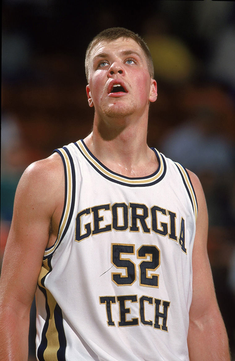 24 Nov 1999: Jason Collier #52 of the Georgia Tech Yellow Jackets looks up at the board during the Great Alaska Shootout against the Grambling Tigers at Sullivan Arena in Anchorage, Alaska. The Yellow Jackets defeated the Tigers 100-88. Mandatory Credit: Otto Greule Jr.  /Allsport