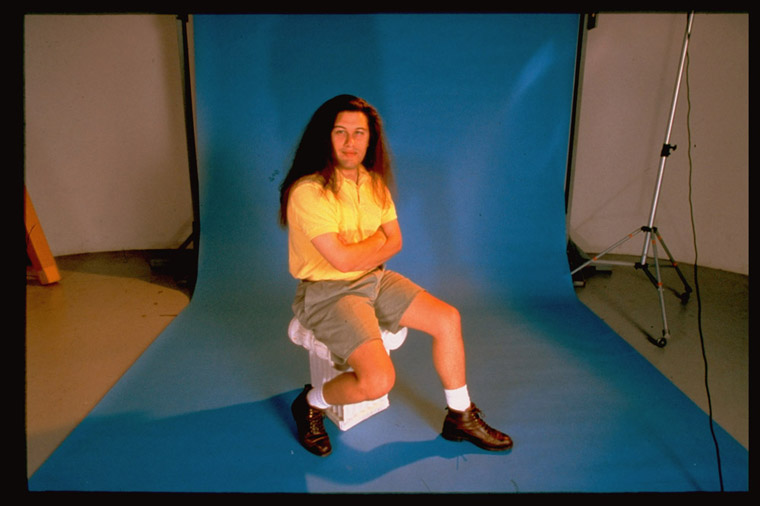 ION Storm video game co. chairman & game designer John Romero posing in studio.  (Photo by Shelly Katz//Time Life Pictures/Getty Images)