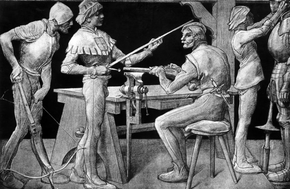 Armourers Circa 1300, Medieval armourers at work making swords, crossbows and armour. Original Artwork: Drawing by PV Galland (1822 - 1892) (Photo by Rischgitz/Getty Images)  -- Image Date: 02/01/1754  -- Image Date: 02/01/1754