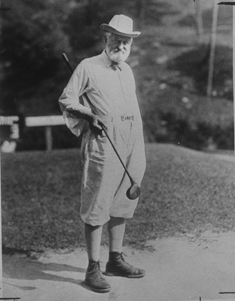 VIRGINIA, UNITED STATES - 1947:  Onetime Chairman of Standard Oil & builder of Shakespeare library in Wash., Henry Clay Folger wearing baggy knickers & holding golf club under his arm posing for picture.  (Photo by Underwood And Underwood/Underwood And Underwood/Time & Life Pictures/Getty Images)