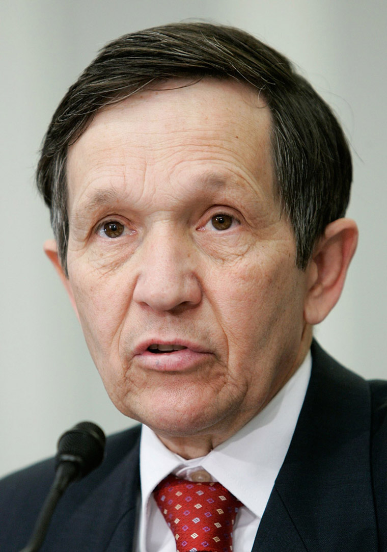 WASHINGTON - DECEMBER 11:  U.S. Rep. Dennis Kucinich (D-OH) discusses the death toll finding by the report
