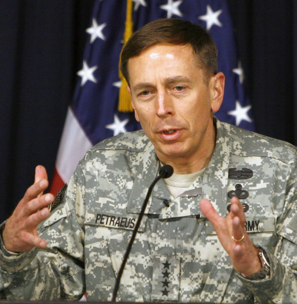 General Petraeus Gives First Press Conference in Baghdad: BAGHDAD, IRAQ - MARCH 08:  General David Petraeus gives his first press conference since taking over command of US forces in Iraq March 8, 2007 in the Green Zone in Baghdad, Iraq. Petraeus, said 21,500 additional soldiers and Marines will be deployed to Iraq by early June. (Photo by Ali Abbas - Pool/Getty Images)  -- Image Date: 3/8/2007  -- Image Date: 3/8/2007