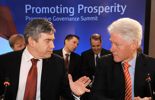 World Leaders Attend Progressive Governance Conference: RICKMANSWORTH, UNITED KINGDOM - APRIL 5:  British Prime Minister Gordon Brown and former U.S. President Bill Clinton sit down for the first working session of the Progressive Governance Summit on April 5, 2008 in Hertfordshire, England. The summit began on former U.S. President Bill Clinton's initiative in 1999 and will this year address globalisation, climate change and poverty with over 300 delegates attending. (Photo by Stefan Rousseau - Pool/Getty Images)  -- Image Date: 4/5/2008