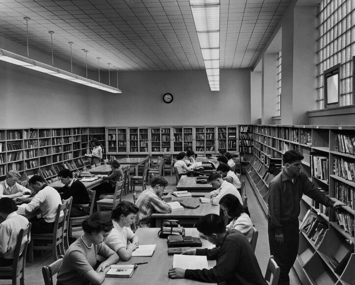 High School Library: Pupils in the library at Fisher Park High School, Ottawa, circa 1955. (Photo by Malak/FPG/Hulton Archive/Getty Images)