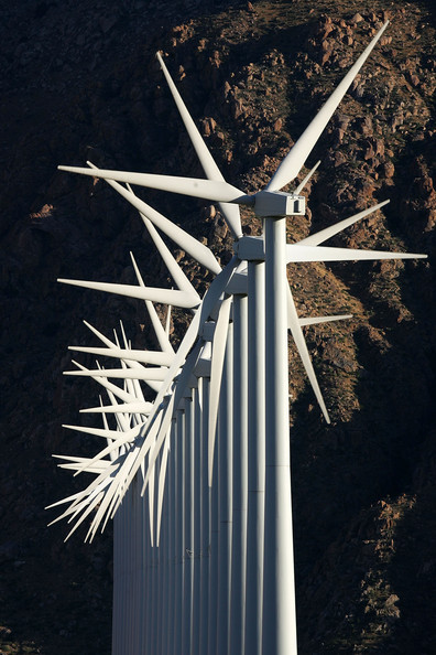 Report Claims 20 Percent Of US's Energy Could Come From Wind Power: PALM SPRINGS, CA - MAY 13:  Giant wind turbines are powered by strong prevailing winds on May 13, 2008 near Palm Springs, California. A US government report released this week concludes that wind energy could generate 20 percent of the electricity produced in the US by 2030, as much as is currently provided by nuclear reactors. Although wind energy constitutes only about 1 percent of the electricity of the nation, wind energy is experiencing a growth spurt with an increase of 45 percent jump last year. The report envisions more than 75,000 new wind turbines, many of them bigger than those in use today, and many of them in offshore waters to increase production from the current 16,000 megawatts of power to 300,000 megawatts. The report does not predict that such growth will actually occur but rather that it is possible.  (Photo by David McNew/Getty Images)  -- Image Date: 5/13/2008