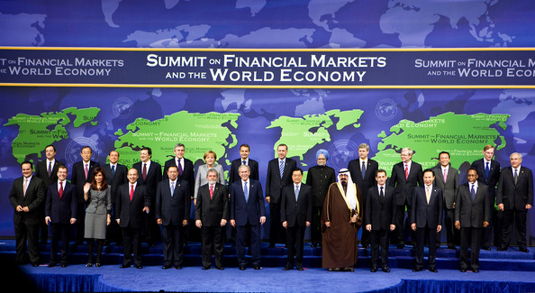 Bush Hosts Summit On Financial Markets And The World Economy In DC: WASHINGTON - NOVEMBER 15:  G20 leaders (L-R-back row) Financial Stability Forum Chairman Mario Draghi, UN Secretary General Ban Ki-moon, European Commission President Jose Manuel Barroso, Italian Prime Minister Silvio Berlusconi, British Prime Minister Gordon Brown, German Chancellor Angela Merkel, Spain President Jose Luis Rodriguez Zapatero, Turkey Prime Minister Recep Tayyip Erdogan, Indian Prime Minister Manmohan Singh, Canadian Prime Minister Stephen Harper, Australian Prime Minister Kevin Rudd, Japanese Prime Minister Taro Aso, World Bank President Robert Zoellick, International Monetary Fund Managing Director Dominique Strauss-Kahn, (L-R-front row) Netherland Prime Minister Jan Peter Balkenende, Russian President Dmitry Medvedev, Mexican President Felipe Calderon Hinojosa, Indonesian President Susilo Bambang Yudhoyono, Brazilian President Luiz Inacio Lula da Silva, U.S. President George W. Bush, Chinese President Hu Jintao, King of the Kingdom of Saudi Arabia Abdullah bin Abd al-Aziz Al Saud, French President Nicolas Sarkozy, South Korean President Lee Myung-bak and South African President Kgalema Motlanthe pose for group photo at the Summit on Financial Markets and the World Economy at the National Building Museum on November 15, 2008 in Washington, DC. Twenty world leaders are gathered at the summit to address problems currently impacting the global economies. The day of negotiations is the largest meeting of world leaders in Washington in nearly a decade.  (Photo by Stephen Jaffe/IMF via Getty Images)