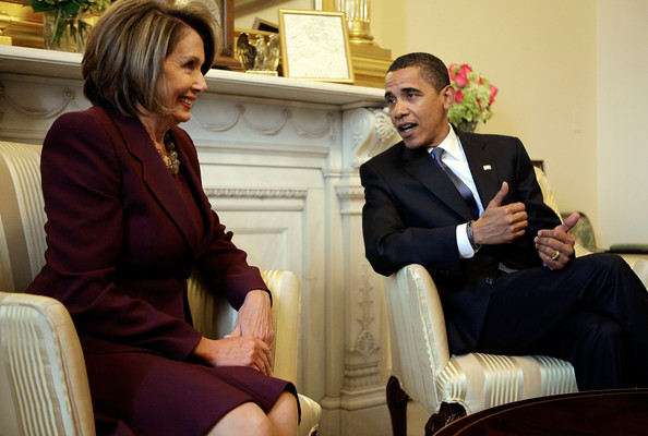 Obama Meets With Congressional Leaders, Economic Advisors In DC: WASHINGTON - JANUARY 5: (AFP OUT)  U.S. President-elect Barack Obama (R) meets Speaker of the House Rep. Nancy Pelosi (D-CA) in her office at the U.S. Capitol January 5, 2009 in Washington, DC. The Obama family moved to the capital over the weekend so the daughters could begin school in Washington today. Obama met with Pelosi and will meet with his top economic advisors to begin work on a stimulus package that they hope will include hundreds of billions of dollars worth of tax breaks for individuals and businesses.  (Photo by Chip Somodevilla/Getty Images)