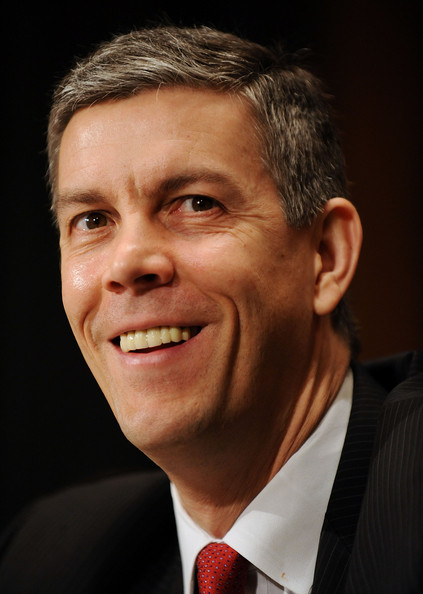 Senate Holds Confirmation Hearing For Education Secretary Designee Duncan: WASHINGTON - JANUARY 13:  Chicago Public Schools CEO Arne Duncan, President-elect Barack Obama's designee to be Secretary of Education, smiles during his confirmation hearing before the Senate Health, Education, Labor and Pensions Committee on Capitol Hill on January 13, 2009 in Washington, DC. Duncan led the nation's third-largest school district since 2001.  (Photo by Jonathan Ernst/Getty Images)