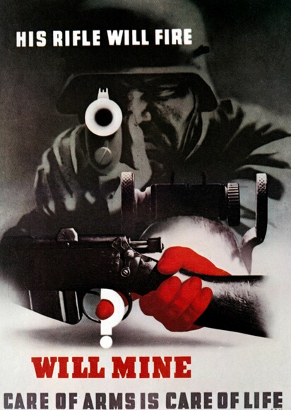 A British poster from World War II depicts a German soldier aiming his rifle at the camera, while a question mark forms the trigger of another rifle, circa 1942. The caption reads 'His rifle will fire, will mine? Care of arms is care of life'. Poster by Abram Games. (Photo by Galerie Bilderwelt/Getty Images)
