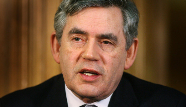 UK Government Announces Further Bank Bailout Plans: LONDON - JANUARY 19:  Prime Minister Gordon Brown speaks during a press conference at 10 Downing Street on January 19, 2009 in London, England. Speaking on a range of new measures announced to assist UK banks, Gordon Brown said today that the Government's latest massive banking bail-out would help restore lending in the British economy.  (Photo by Lewis Whyld/WPA Pool/Getty Images)