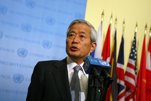 United Nations Security Council Discusses North Korea's Nuclear Testing: NEW YORK - MAY 25: Japanese Ambassador to the UN Yukio Takasu speaks to the media following an emergency session of the United Nations Security Council concerning an underground nuclear test by North Korea May 25, 2009 at the United Nations in New York City. UN Secretary-General Ban Ki-moon said Monday that a second nuclear test by North Korea would represent