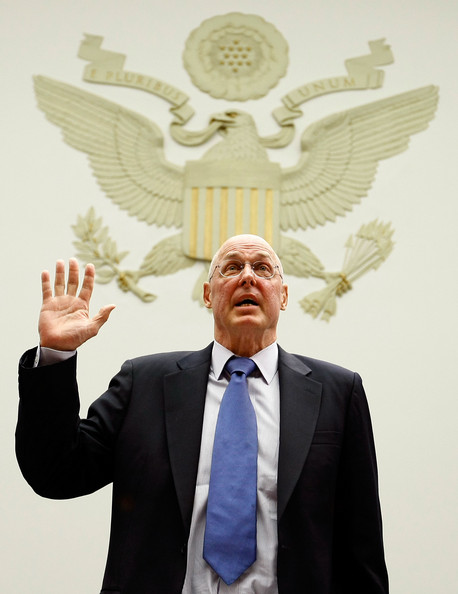 Henry Paulson Testifies At House Hearing On Merrill Lynch - BofA Deal: WASHINGTON - JULY 16:  Former U.S. Treasury Secretary Henry Paulson is sworn in before the House Oversight and Government Reform Committee July 16, 2009 in Washington, DC. Paulson testified before the committee on