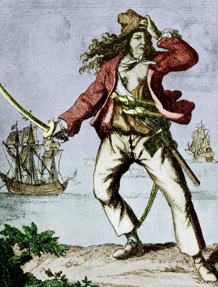 UNSPECIFIED - NOVEMBER 16:  Mary Read (1690-1720) english woman pirate, engraving, colorized document  (Photo by Apic/Getty Images)