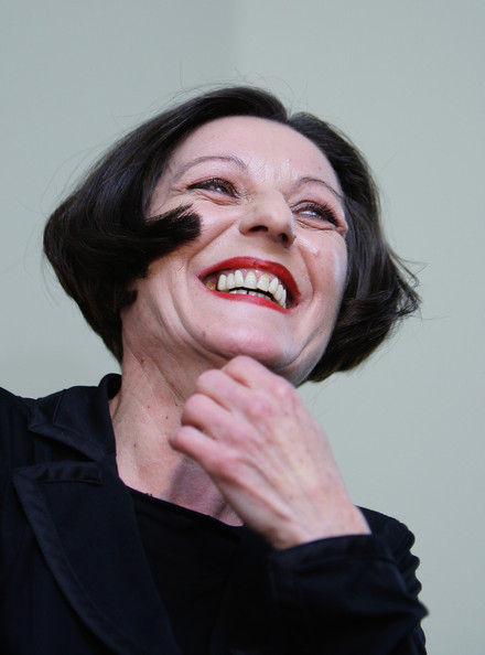Herta Mueller Wins Nobel Literature Prize: BERLIN - OCTOBER 08:  German writer Herta Mueller gestures during a press conference on October 8, 2009 in Berlin, Germany. 56-year-old Romanian-born German writer Herta Mueller won the 2009 Nobel Prize in literature Thursday, honored for work that 'with the concentration of poetry and the frankness of prose, depicts the landscape of the dispossessed,' the Swedish Academy said.  (Photo by Andreas Rentz/Getty Images)