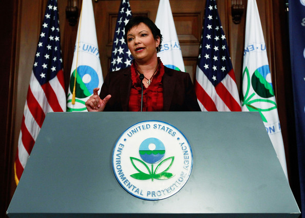 EPA Declares Greenhouse Gases A Danger To Human Health: WASHINGTON - DECEMBER 07:  EPA Administrator Lisa P. Jackson speaks during a news conference on greenhouse gases at the Environmental Protection Agency headquarters on December 7, 2009 in Washington, DC. Administrator Jackson announced that carbon dioxide and other greenhouse gas emissions pose a danger to the public's health and welfare. In 2007 a Supreme Court decision the high court ordered the EPA to determine whether greenhouse gases qualify as a pollutant under the Clean Air Act.  (Photo by Mark Wilson/Getty Images)