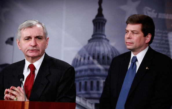Democrats Address Pending Health Care Reform Bill: WASHINGTON - DECEMBER 18:  Sen. Jack Reed (D-RI) (L) and Sen. Mark Begich (D-AK) participate in a news conference on health care on Capitol Hill on December 18, 2009 in Washington, DC. Senate Democratics said they would like to see a health care reform bill pass in the Senate before Christmas despite efforts from Senate Republican  who said they will do everything they can to delay passage of any health care legislation.  (Photo by Mark Wilson/Getty Images)