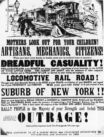 Poster Against the Development of Railroads in Philadelphia and Vicinity, circa 1839.  (Photo by Fotosearch/Getty Images)