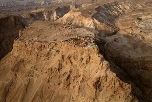 Israel  Masada  ancient ruins  aerial view