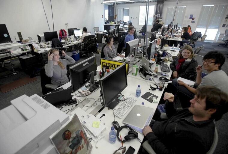 Facebook's new campus in Menlo Park, California, on  January 18, 2012, features a community work area. Wall Street is about to get Facebook fever as the social networking giant, with nearly 1 billion users, is expected to soon file papers to sell stock to the public. (Mark Boster/Los Angeles Times/MCT)