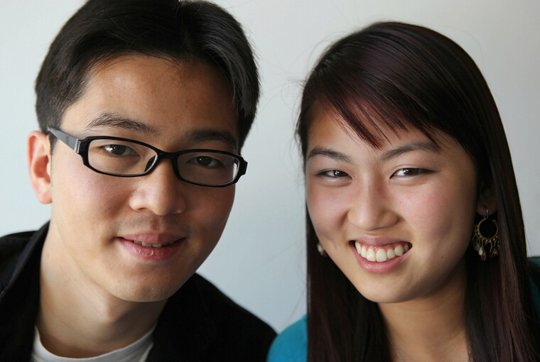 Steven Keng and Diane Keng, brother and sister as well as co-founders of Myweboo.com, work on their social aggregator site out of the garage at home in Cupertino, California, on Friday, July 23, 2010. Their web-based service helps users organize their social networking accounts and shared files. (Jim Gensheimer/San Jose Mercury News/MCT)