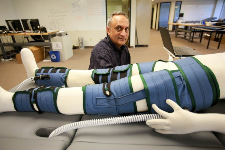 Manoj Bhargava, CEO of Renew Enhanced Circulation, demonstrates how the