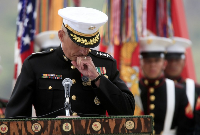 Marine Gen. John Kelly lost his son, Marine 1st Lt Robert Kelly, during Operation Enduring Freedom. General Kelly dedicated a memorial Thursday, June 6, 2013, at the San Mateo Memorial Garden in Camp Pendleton, California, to the 89 Marines and sailors, including his son, killed in action during the 10-year war in Afghanistan. (Mark Boster/Los Angeles Times/MCT)