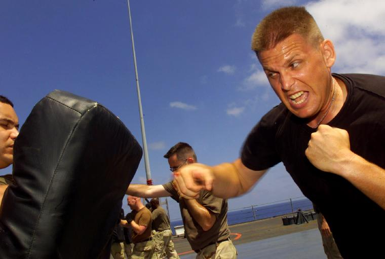 NAV2003040614 -  Gulf of Aden , April 4  (UPI) -- U.S. Marine Sgt. Frank Shaskan from Scottsdale, N.C., practices an eye-gouging technique during a martial arts exercise aboard USS Mount Whitney (LCC/JCC 20).  Mount Whitney is deployed to the Horn of Africa region, participating in Operation Enduring Freedom and the global war on terrorism.    dg/Scott Phillips/U.S. Navy   UPI