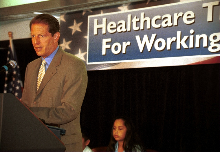 LAP99090610 - 06 SEPTEMBER 1999 - LOS ANGELES, CALIFORNIA, USA: Vice President Al Gore tells a small group of parents and professionals gathered, September 6, at Children's Hospital in Los Angeles his approach to America's health care system would make health care affordable for all children and
