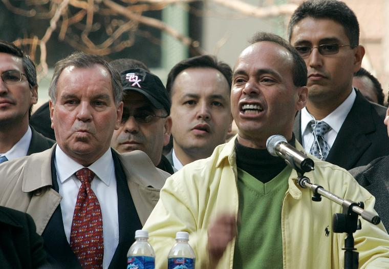 TENS OF THOUSANDS PROTEST HR 4437 IN CHICAGO: Congressman Luis Gutierrez, right, and Chicago Mayor Richard M. Daley speak to tens of thousands of demonstrators protesting HR 4437, the Border Protection, Antiterrorism, and Illegal Immigration Control Act of 2005, on March 10, 2006 in Chicago. The bill before Congress in part makes it a criminal act to help illegal immigrants. (UPI Photo/Brian Kersey)
