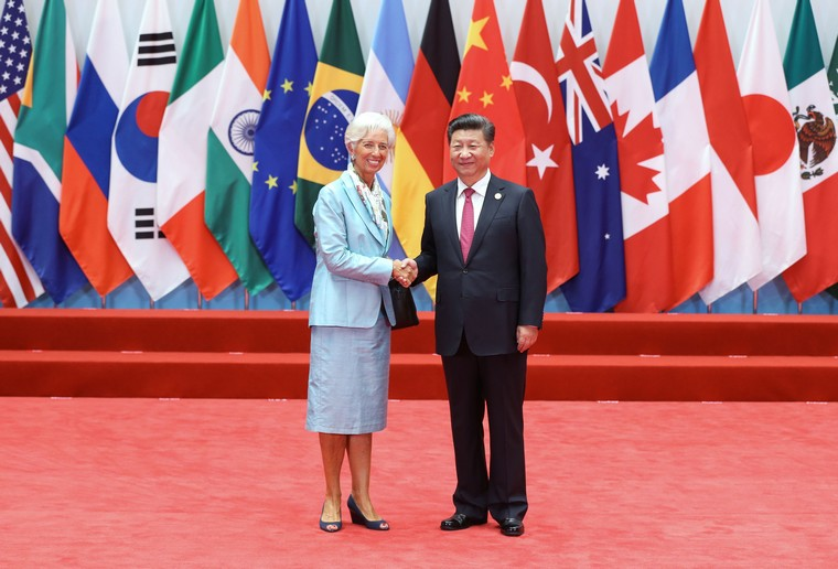 Chinese President Xi Jinping (R) welcomes International Monetary Fund (IMF) Managing Director Christine Lagarde to the opening ceremony of the G20 Summit in Hangzhou, the capital of Zhejiang Province, on September 4, 2016.  World leaders have come to China for the start of the G20 Summit, where heads of states will discuss global economics, trade, climate and terrorism issues.      Pool Photo by Ma Zhancheng /UPI