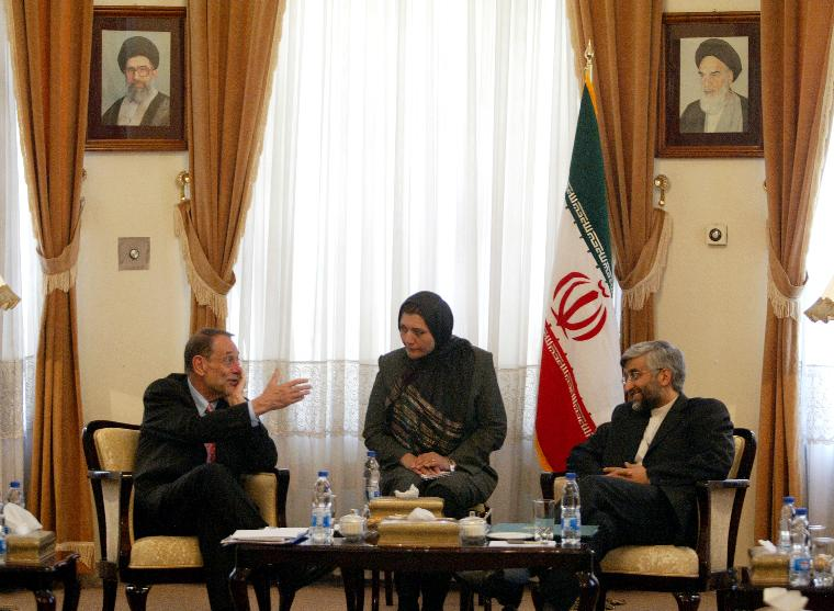European Union Foreign Policy Chief Javier Solana meets Iran's chief nuclear negotiator Saeed Jalili in Tehran: European Union Foreign Policy Chief Javier Solana (L) talks with Iran's chief nuclear negotiator Saeed Jalili (R) through a translator during their meeting in Tehran, Iran on June 14, 2008. Solana presented to Iran the updated package of proposals seeking to resolve the problems that Iran's nuclear program raises with the international community and to enter into a normalized relationship with Iran. Germany and the five permanent United Nations Security Council members, Britain, the United States, France, Russia and China, prepared the new package.  (UPI Photo/Mohammad Kheirkhah)