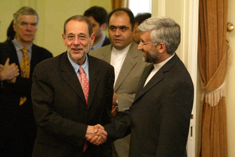 European Union Foreign Policy Chief Javier Solana meets Iran's chief nuclear negotiator Saeed Jalili in Tehran: European Union Foreign Policy Chief Javier Solana (L) shakes hand with Iran's chief nuclear negotiator Saeed Jalili (R) before their meeting in Tehran, Iran on June 14, 2008.  Solana presented to Iran the updated package of proposals seeking to resolve the problems that Iran's nuclear program raises with the international community and to enter into a normalized relationship with Iran. Germany and the five permanent United Nations Security Council members, Britain, the United States, France, Russia and China, prepared the new package.  (UPI Photo/Mohammad Kheirkhah)