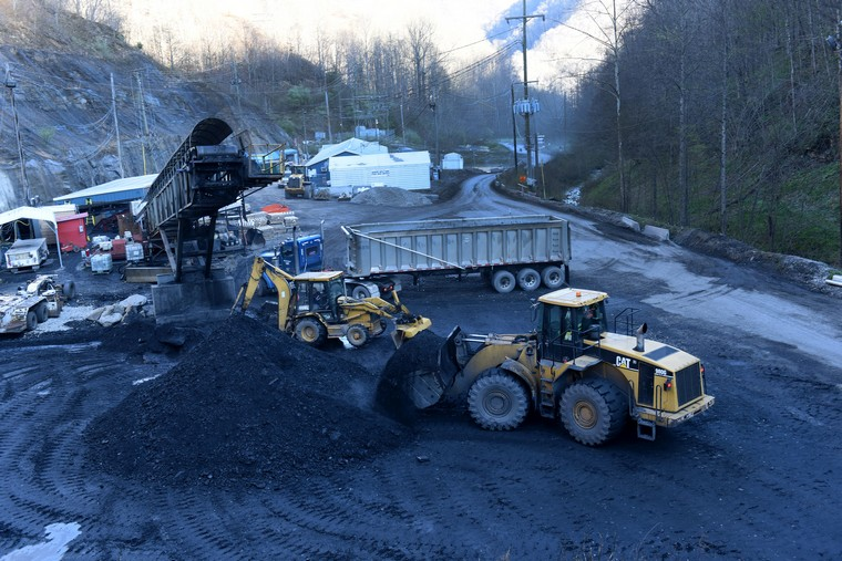 A truck and endloader load coal at the Gateway Eagle Mine, an United Mine Workers mine in Pond Fork, Boone County, in southern West Virginia, March 13, 2016. Coal is a fossil fuel, which has suffered a significant decline in recent years, resulting in price drops and loss of jobs with mines closing. The broad scientific consensus that carbon emissions drive global warming has brought stricter EPA regulations as energy shifts to renewable, cleaner energy. Also the advances in natural gas has made shale gas more economically viable. The price of metallurgical coal used in steel production has gone from $300 a ton to $80 to $90 a ton, while steam or thermal coal used in power generation has gone from $120 a ton to low $40 a ton. Coal production is the most important subject in the upcoming 2016 Presidential election for residents of West Virginia.   Photo by Debbie Hill/ UPI