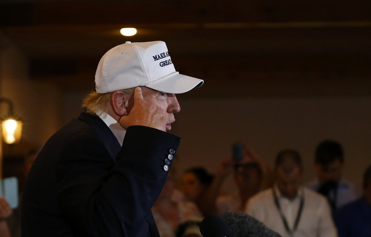 Republican presidential hopeful Donald Trump delivers speaks on immigration reform to members of the local law enforcement community at the Paseo Real Reception Hall, near the U.S.-Mexico border in Laredo, Texas on July 23, 2015. Photo by Aaron M. Sprecher/UPI