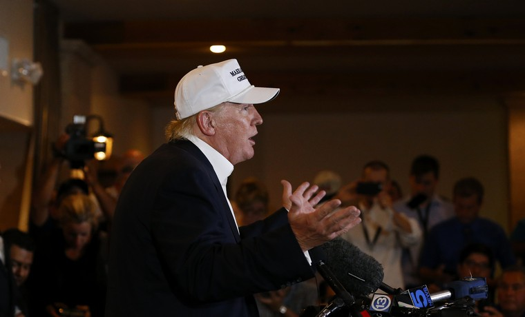 Republican presidential hopeful Donald Trump speaks on immigration reform to members of the local law enforcement community at the Paseo Real Reception Hall, near the U.S.-Mexico border in Laredo, Texas on July 23, 2015. Photo by Aaron M. Sprecher/UPI