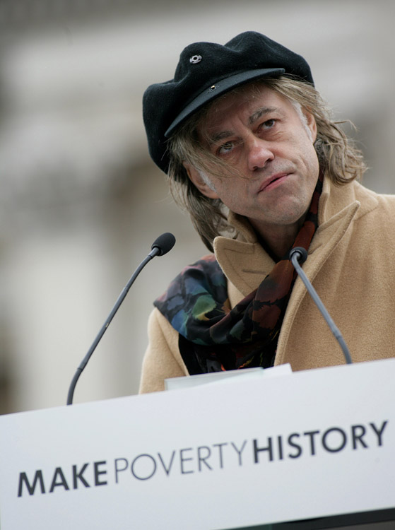 MANDELA POVERTY SPEECH IN LONDON-Bob Geldof delivers a speech for the charity