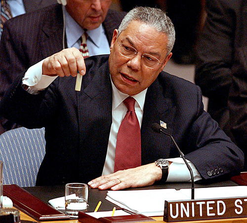 FORMER U.S. SECRETARY OF STATE COLIN POWELL EXPRESSES DISPLEASURE TO A MAGAZINE OVER U.S.PRELIM TO WAR IN IRAQ-U.S. Secretary of State Colin Powell shown in February 2003 holding a small vial of a non-lethal substance to demonstrate the amount of Anthrax used in attacks on Capitol Hill in 2001 and that Iraq has still not accounted for tons of the lethal agent.  Powell admitted in a German magazine article published on March 30, 2005 that the U.S. made errors in presenting its case for war against Iraq and that he was