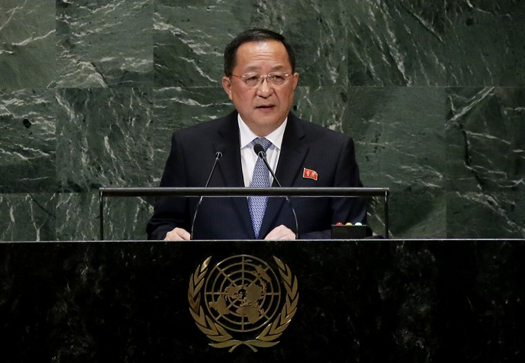 Democratic People's Republic of Korea Minister for Foreign Affairs H.E. Mr. Ri Yong Ho speaks at the 73rd session of the United Nations General Assembly in GA Hall at United Nations Headquarters at in New York City on September 29, 2018.    Photo by John Angelillo/UPI