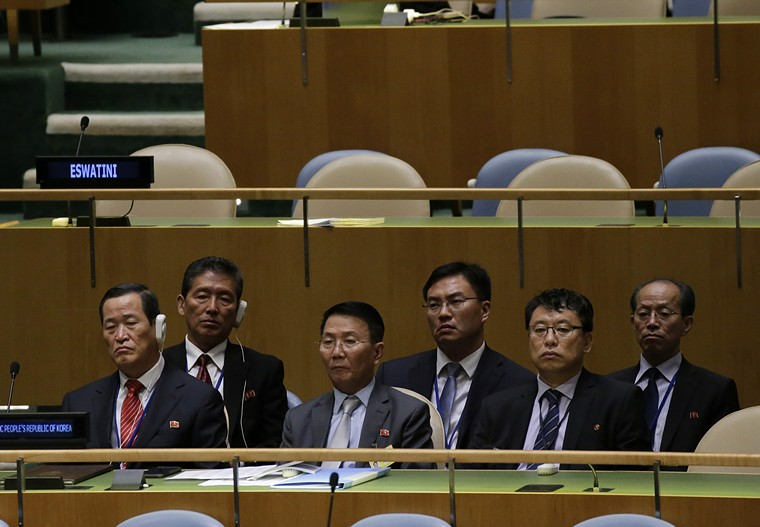 Members of the North Korean Delegation listen to Democratic People's Republic of Korea Minister for Foreign Affairs H.E. Mr. Ri Yong Ho speak at the 73rd session of the United Nations General Assembly in GA Hall at United Nations Headquarters at in New York City on September 29, 2018.    Photo by John Angelillo/UPI