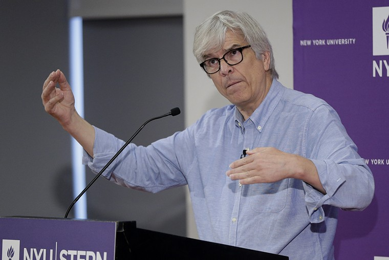 Winner of the 2018 Nobel Prize in Economic Sciences Paul M. Romer speaks at a press conference at NYU in New York City on October 8, 2018. This year's winners of the Nobel Prize for Economics are William Nordhaus and Paul Romer, recognized for taking macroeconomics to a global scale to tackle some of the world's biggest problems.     Photo by John Angelillo/UPI