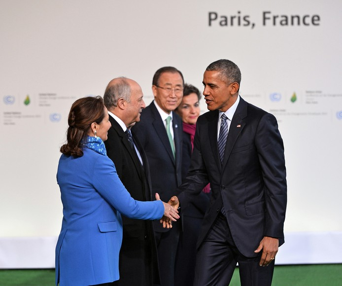 U.S. President Barack Obama (R) is greeted by (from L to R) French Environment Minister Segolene Royal, French Foreign Minister Laurent Fabius, U.N. Secretary General Ban Ki-moon and Executive Secretary of the U.N. Framework Convention on Climate Change Christiana Figueres at the United Nation's 21st climate change conference at Le Bourget near Paris on November 30, 2015. The almost 150 heads of state and representatives from 200 countries in attendance will attempt to negotiate a legally binding agreement to limit worldwide carbon emissions with the goal of keeping global warming under 2 degrees Celsius.   Photo by David Silpa/UPI