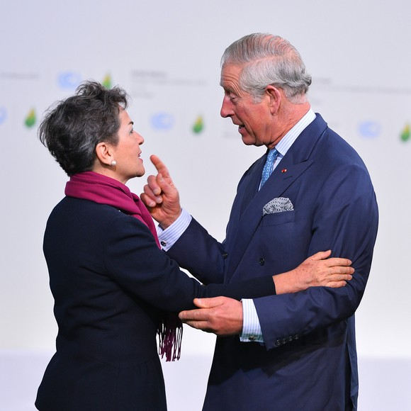 Britain's Prince Charles (R) is greeted by Executive Secretary of the U.N. Framework Convention on Climate Change Christiana Figueres at the United Nation's 21st climate change conference at Le Bourget near Paris on November 30, 2015. The almost 150 heads of state and representatives from 200 countries in attendance will attempt to negotiate a legally binding agreement to limit worldwide carbon emissions with the goal of keeping global warming under 2 degrees Celsius.   Photo by David Silpa/UPI