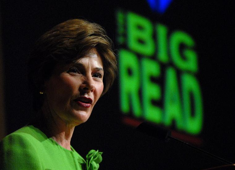 FIRST LADY LAURA BUSH SPEAKS AT BIG READ CELEBRATION: First Lady Laura Bush, honorary chair of the Big Read, speaks during a celebration of the project at the Library of Congress in Washington on July 20, 2006. The Big Read was designed by the National Endowment of the Arts to encourage Americans to reconnect with great works of American literature.    (UPI Photo/Roger L. Wollenberg)