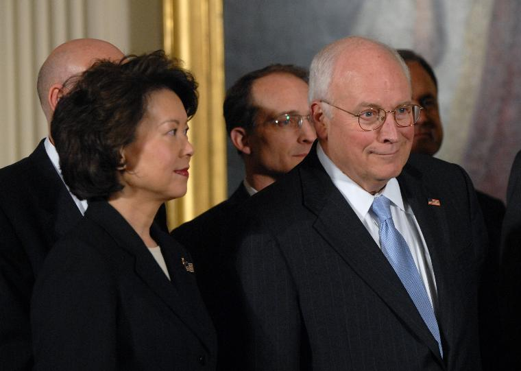U.S. President Bush signs the Economic Stimulus Act in Washington: Secretary of Labor Elaine Chao (L) and Vice President Dick Cheney listen as U.S. President George W. Bush speaks before Bush signs H.R. 5140, the Economic Stimulus Act of 2008 in the East Room at the White House in Washington on February 13, 2008. (UPI Photo/Alexis C. Glenn)