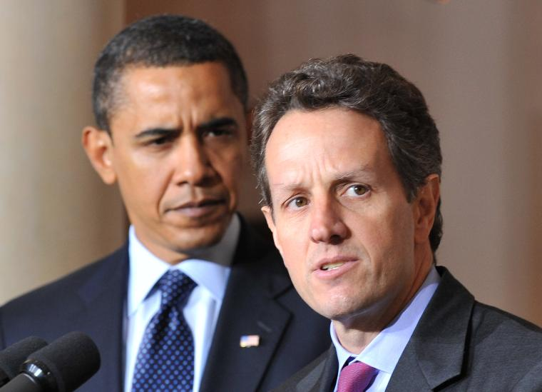President Obama and Treasury Secretary Geithner speak on Executive Compensation in Washington: Treasury Secretary Tim Geithner (R) delivers remarks on executive compensation alongside President Barack Obama at the White House in Washington on February 4, 2009. Obama placed a half-million dollar cap on compensation for executives of companies that take bailout money.  (UPI Photo/Kevin Dietsch)