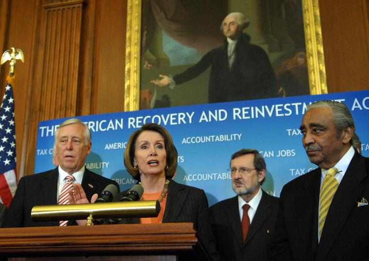 Washington Nationals sign slugger Adam Dunn in Washington: Speaker of the House Nancy Pelosi (D-CA) speaks, surrounded by House Democratic leaders, at a press conference after the House passed the American Recovery and Reinvestment Act of 2009 on Capitol Hill in Washington on February 13, 2009.  (UPI Photo/Alexis C. Glenn)