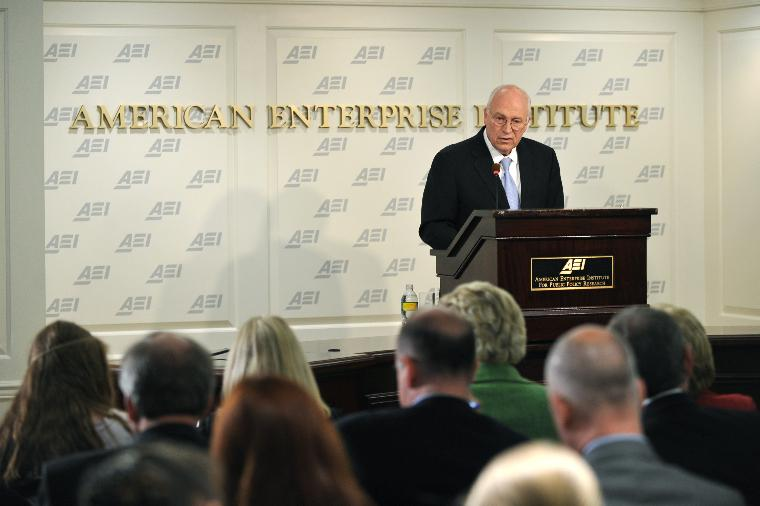 Former Vice President Cheney speaks on National Security Policy in Washington: Former Vice President Dick Cheney speaks on America's national security policy at the American Enterprise Institute in Washington on May 21, 2009. Cheney said that waterboarding and the Guantanamo Bay prison were essential for keeping America safe. (UPI Photo/Kevin Dietsch)