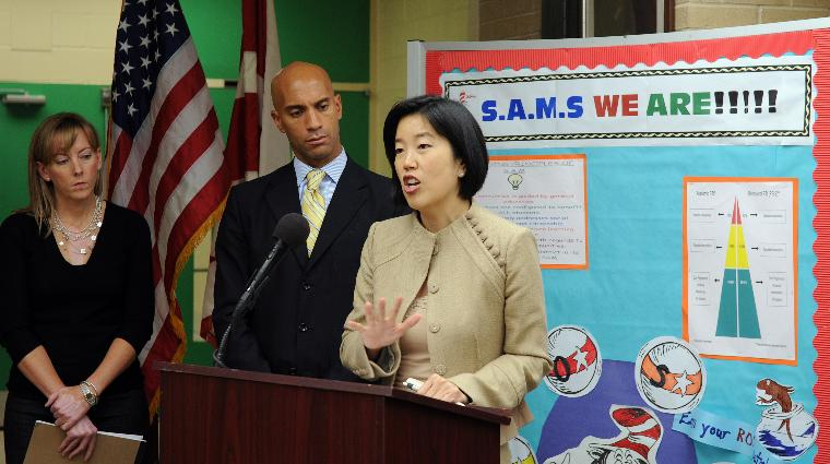 D.C. Mayor Fenty, schools chiefs, announce math test scores increases in Washington: D.C. Mayor Adrian Fenty, D.C. Public Schools Chancellor Michelle Rhee (R) and State Superintendent of Education Kerri Briggs hold a news conference to discuss the District of Columbia's 2009 math scores on the National Assessment of Educational Progress at at M.C. Terrell Elementary School in Washington on October 15, 2009. The trio announced