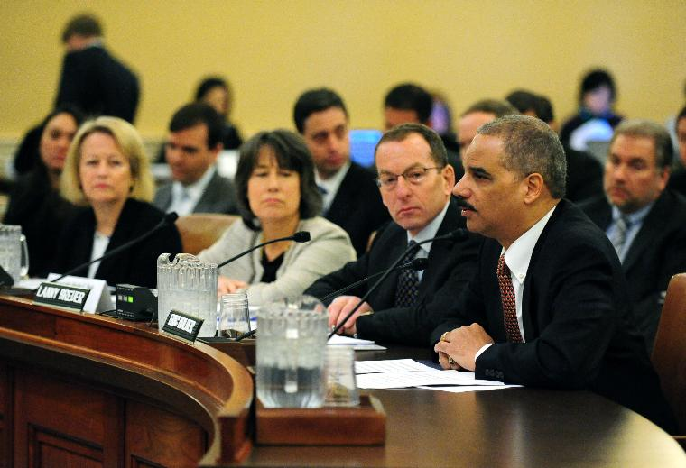 Financial Crisis Inquiry Commission investigates the economic crisis in Washington: From right to left, Attorney General Eric Holder, Assistant Attorney General Lanny Breuer, Chairman of the Federal Deposit Insurance Corporation Sheila Bair and Chairman of the Securities and Exchange Commission Mary Schapiro testify on the causes of the economic crisis before the Financial Crisis Inquiry Commission in Washington on January 14, 2010.   UPI/Kevin Dietsch